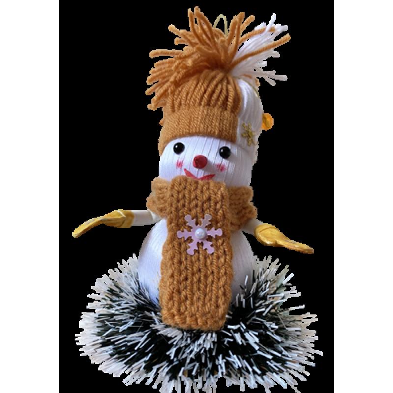 Новогодняя игрушка-снеговик ручной работы Коричневый