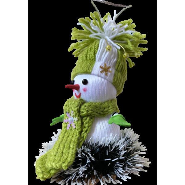 Новогодняя игрушка-снеговик ручной работы Зеленый