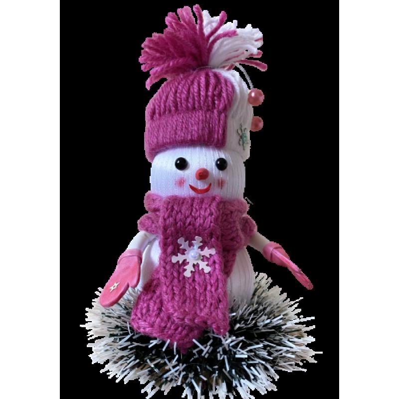 Новогодняя игрушка-снеговик ручной работы Розовый