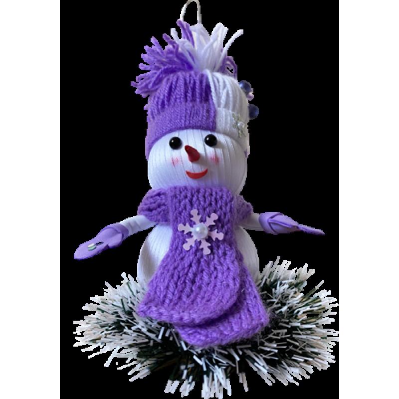 Новогодняя игрушка-снеговик ручной работы Фиолетовый