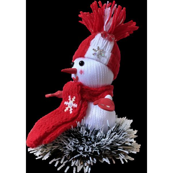 Новогодняя игрушка-снеговик ручной работы Красный