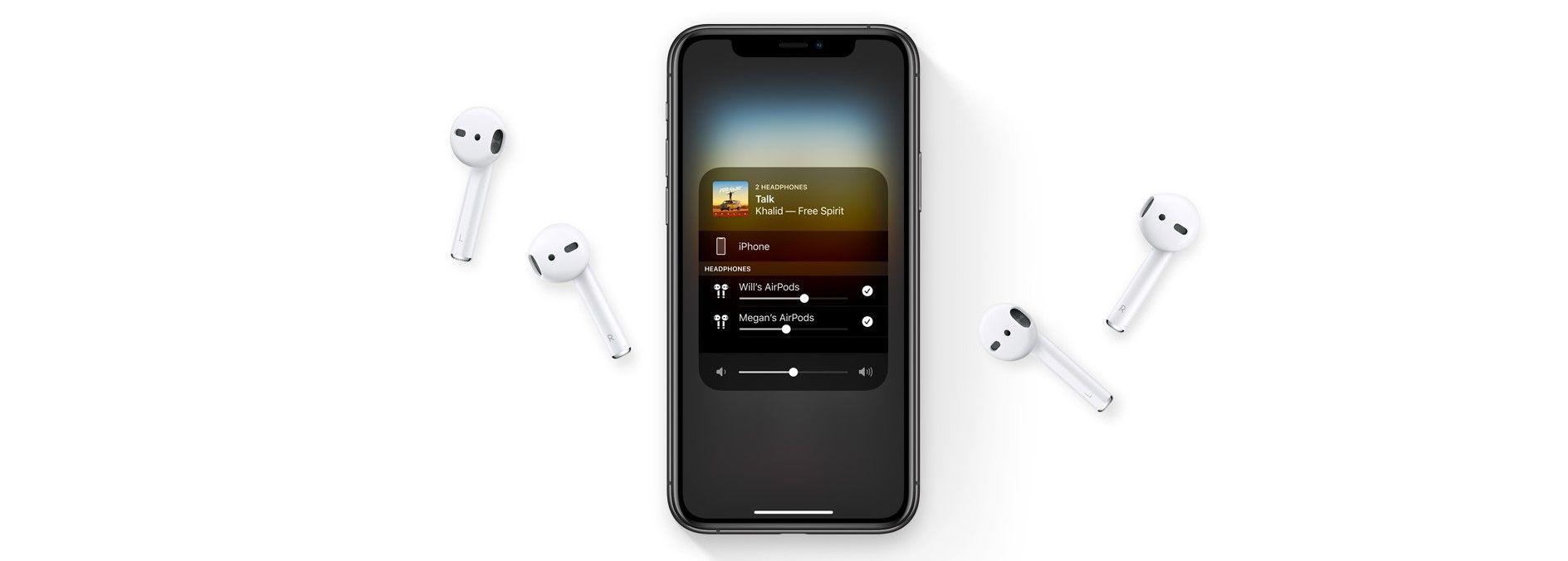 Наушники Apple AirPods 2 (с зарядным футляром) MV7N2 рядом с Apple iPhone