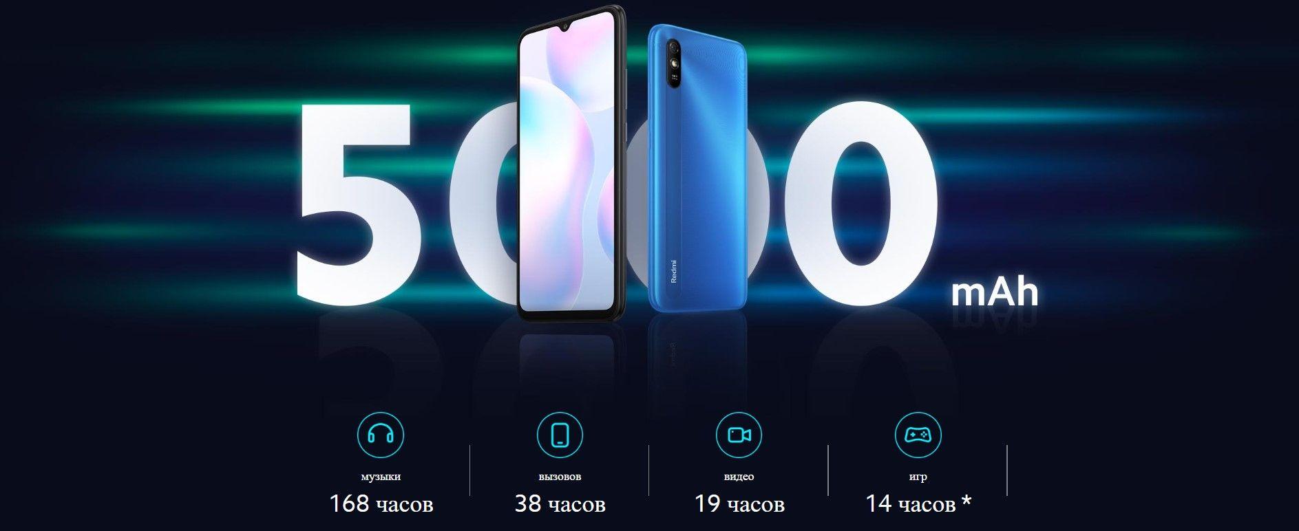 Xiaomi Redmi 9A аккумулятор 5000 мАч